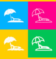 tropical resort beach sunbed chair sign four vector image vector image
