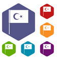 turkish flag icons set hexagon vector image vector image