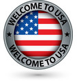 welcome to usa silver label with flag vector image