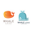 whale logo original design set company identity vector image vector image