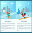 wintertime woman and snowball vector image vector image