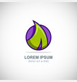 green leaf icon colored logo vector image