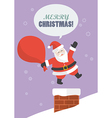 Santa claus with big bag jumping in the chimney vector image