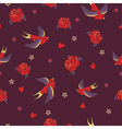 seamless pattern with swallows roses hearts and vector image