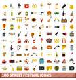100 street festival icons set flat style vector image vector image