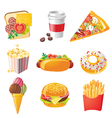 9 realistic fastfood icons vector image