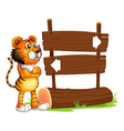 A wooden signboard with a tiger vector image vector image