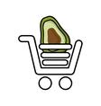 avocado in shopping cart isolated icon design vector image vector image