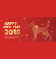 banner with a gold dog on a red background vector image