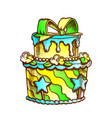birthday cake decorated with bow retro vector image vector image