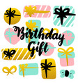 birthday gift handwritten postcard vector image
