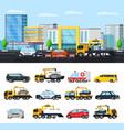 car evacuation elements concept vector image vector image