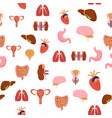 cartoon human internal organs background pattern vector image vector image