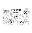 collection cat-beetles outlines on white vector image vector image