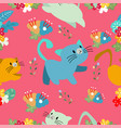 Cute cat seamless pattern with flower on colorful