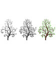 decorative trees with and without leaves vector image vector image