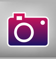 digital camera sign purple gradient icon vector image vector image