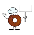 Donut Cartoon Character Holding A Blank Sign vector image