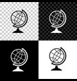 earth globe icon isolated on black white and vector image vector image