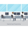 Engineering and programming working process vector image vector image