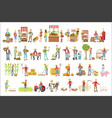 farmers and their products set vector image vector image