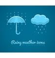 Flat icons of rainy weather vector image
