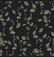 floral black pattern with leaves and berries vector image vector image