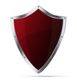 Glittering red metallic shield isolated vector image vector image