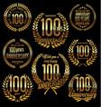 golden laurel wreath anniversary collection 100 vector image vector image