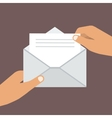 Hand Holding Opened Envelope Flat style vector image