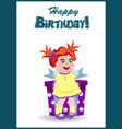 happy birthday greeting card cartoon little girl vector image