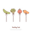 healthy food eating raw and steamed vegetables vector image