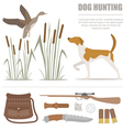Hunting icon set Dog hunting equipment Flat style vector image vector image