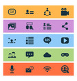 internet icons set with social page friends vector image vector image