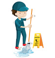 Janitor mopping the wet floor vector image