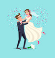 just married funny couple bride and groom dance vector image vector image