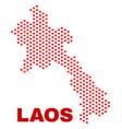 laos map - mosaic of valentine hearts vector image vector image