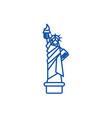 liberty statue new york line icon concept vector image