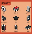 library color outline isometric icons vector image vector image