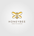 line art honey bee logo design vector image