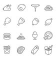 Lines icon set - Western food vector image vector image