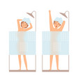 man and woman take a shower hygiene vector image vector image