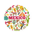 mexican symbols circle shape with various colored vector image