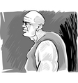 muscular bald man vector image vector image