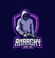ninja anarchy mascot logo vector image vector image