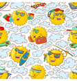pattern with sun characters in summer activity vector image vector image