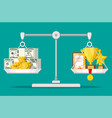 scales with money and trophy vector image vector image