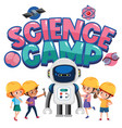 science camp logo with children wearing engineer vector image vector image