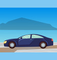 seashore and car on road traveling and vacation vector image vector image