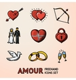 set hand drawn love amour icons with - heart vector image
